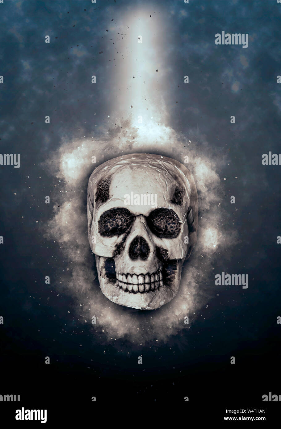 Concept image of a human skull surrounded by cosmic energy Stock Photo