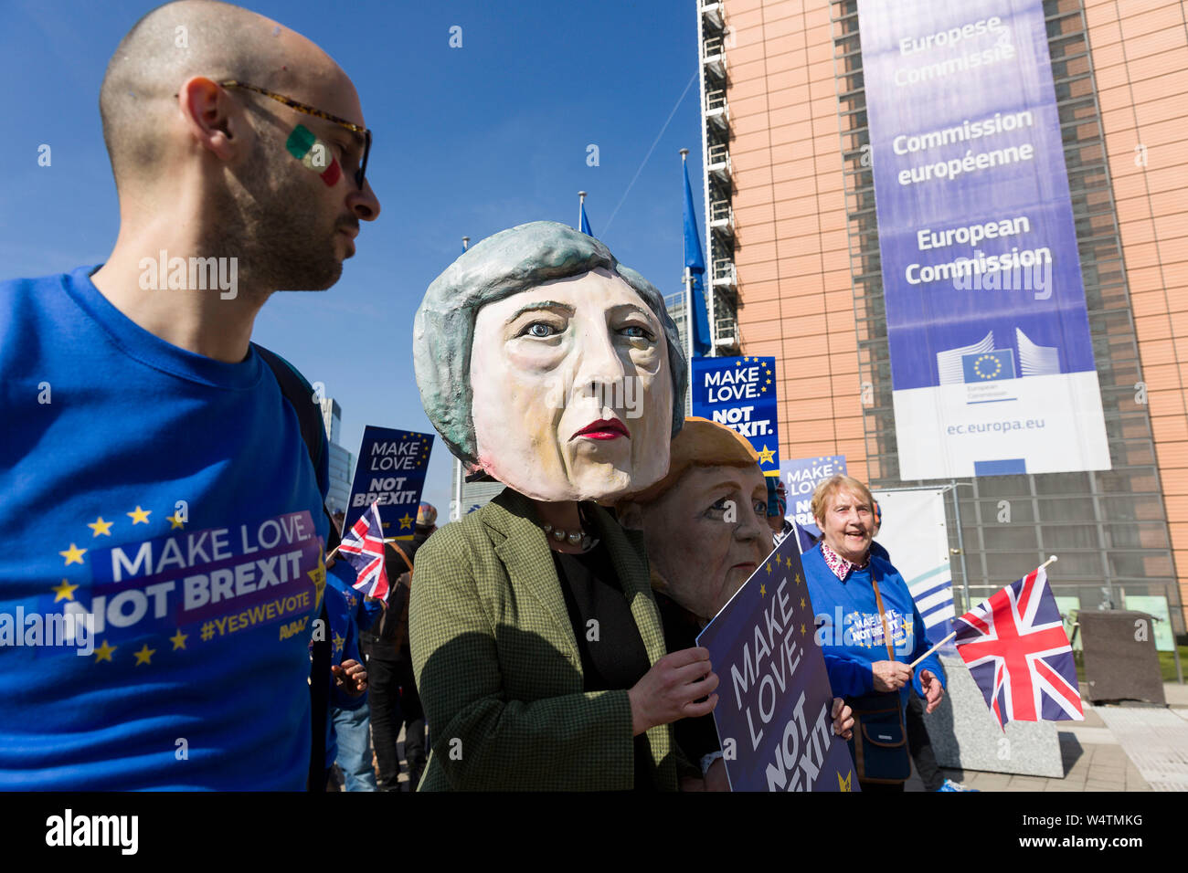 "Belgium, Brussels, on March 21, 2019: demonstration in front of the European Commission against Brexit with the slogan ""Make Love, Not Brexit"". Partic Stock Photo"