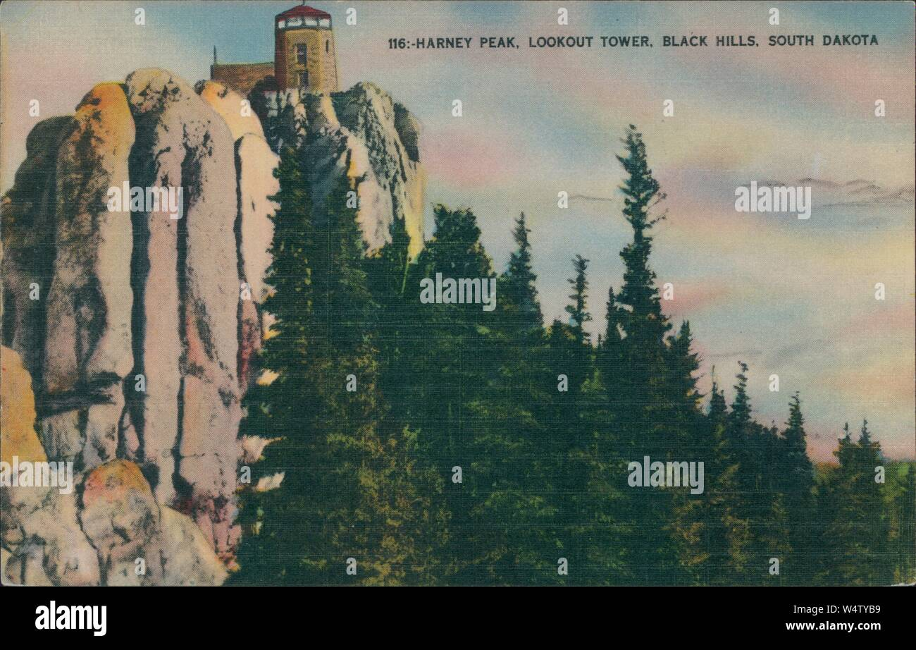Vintage postcard reproduction of the lookout tower on Harney