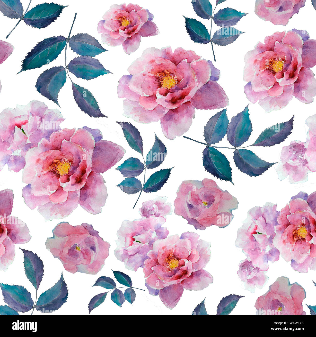 Watercolor Floral Pattern And Seamless Background Hand Painted