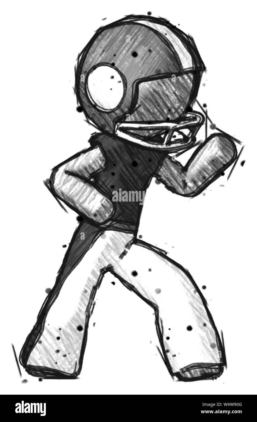 Sketch Football Player Man Martial Arts Defense Pose Right