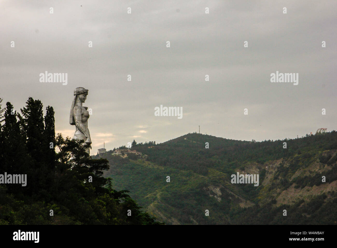 Mother Georgia, the symbol of the country, a sculpture 20 meters high that is visible from almost anywhere in the city.    The Kartlis Deda, as it is Stock Photo
