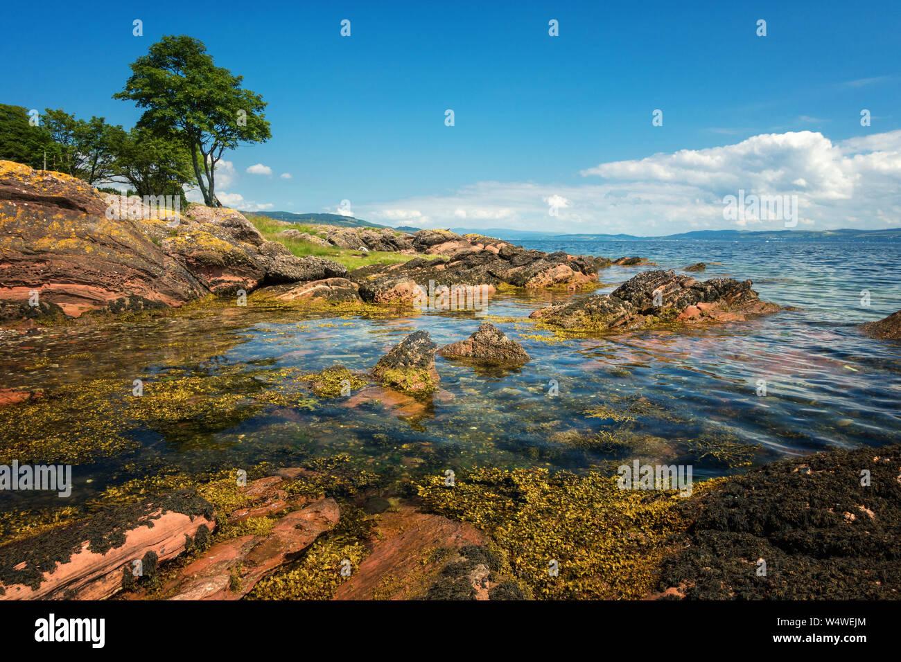 Stunning weather at Ascog beach, Isle of Bute, Scotland Stock Photo