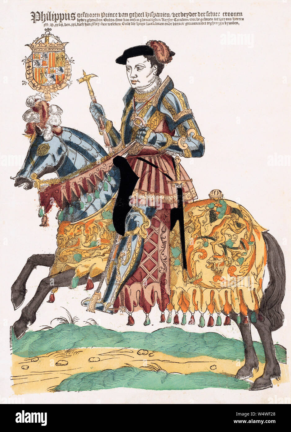 Portrait of King Philip II of Spain on horseback.  King Philip II, Rey Felipe II, 1527 - 1598.  After a 16th century print. Stock Photo
