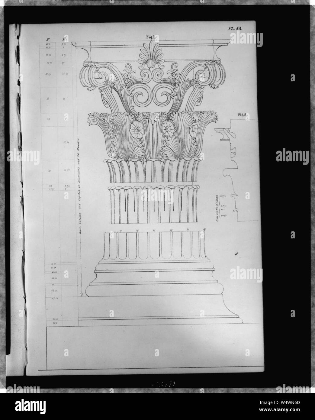 Corinthian column and capital From the monument of Lysicrates - Fig. 1, column, base, and capital. Stock Photo