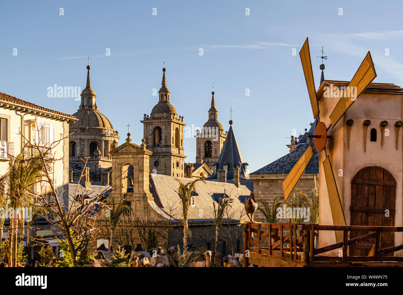 holiday with the towers of the monastery of El Escorial in the background. Madrid Spain Stock Photo