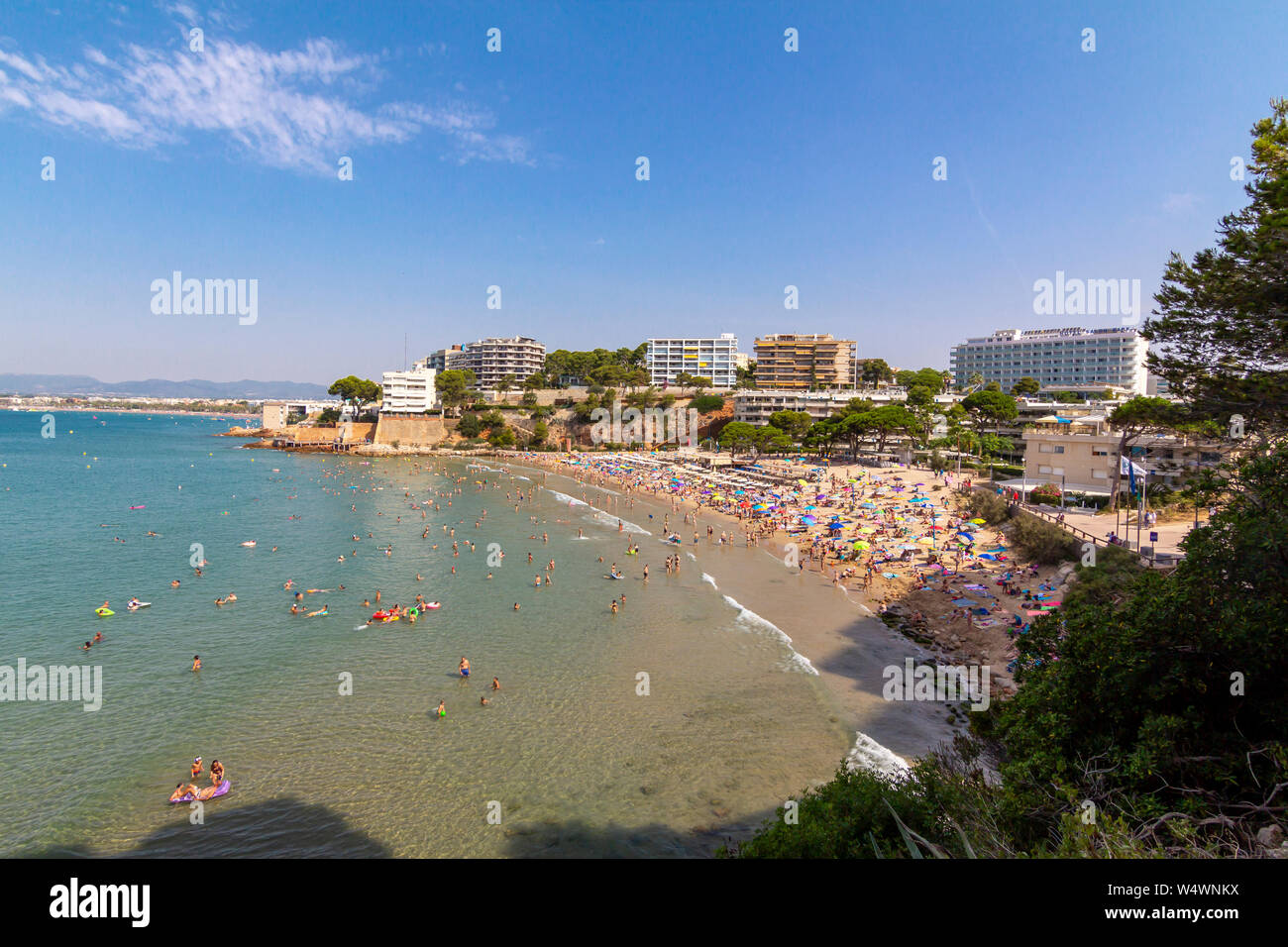 Capellans crowded beach in Salou, Spain Stock Photo
