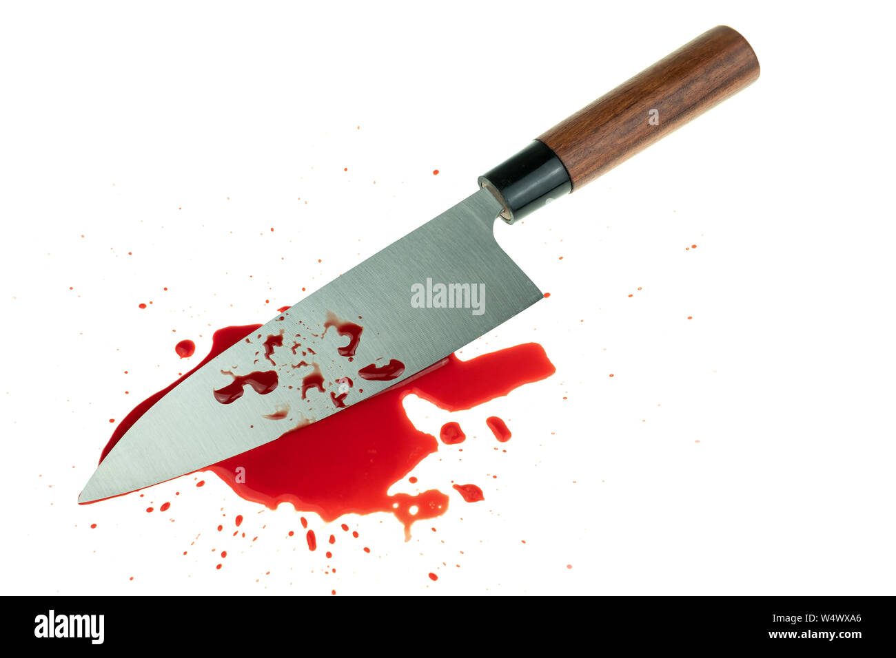 High contrast image knife bloody on white background Stock Photo