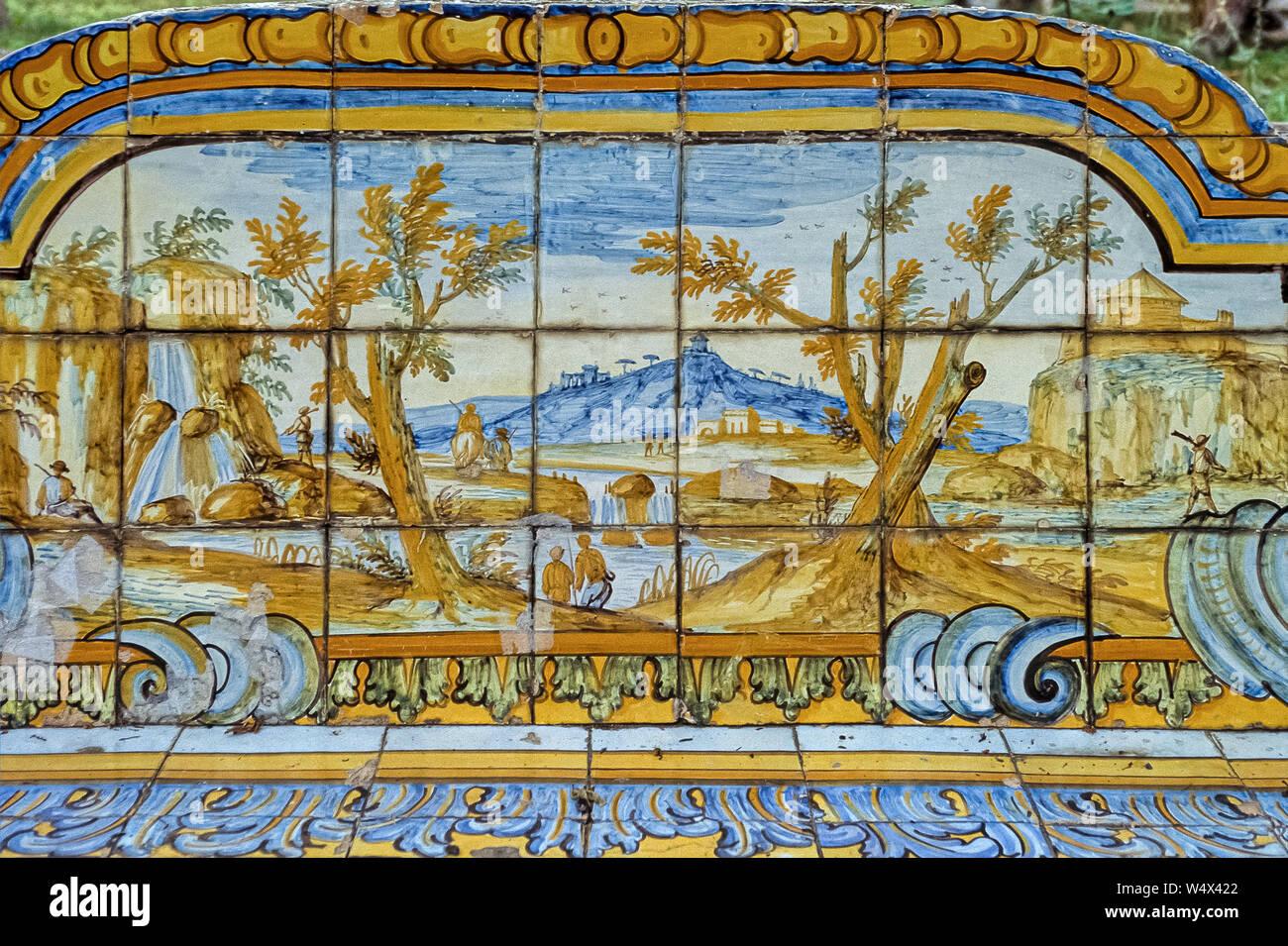 Italy Campania Naples -Monumental complex of Santa Chiara - Santa Chiara Basilica Ceramic  with landscape view in the Cloister Stock Photo