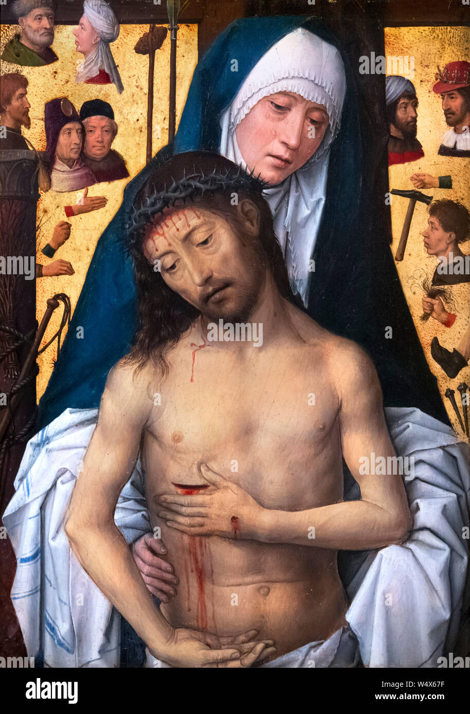 The Man of Sorrows in the Arms of the Virgin by Hans Memling (c.1430-1494), oil and gold leaf on wood panel, c.1475-9 Stock Photo