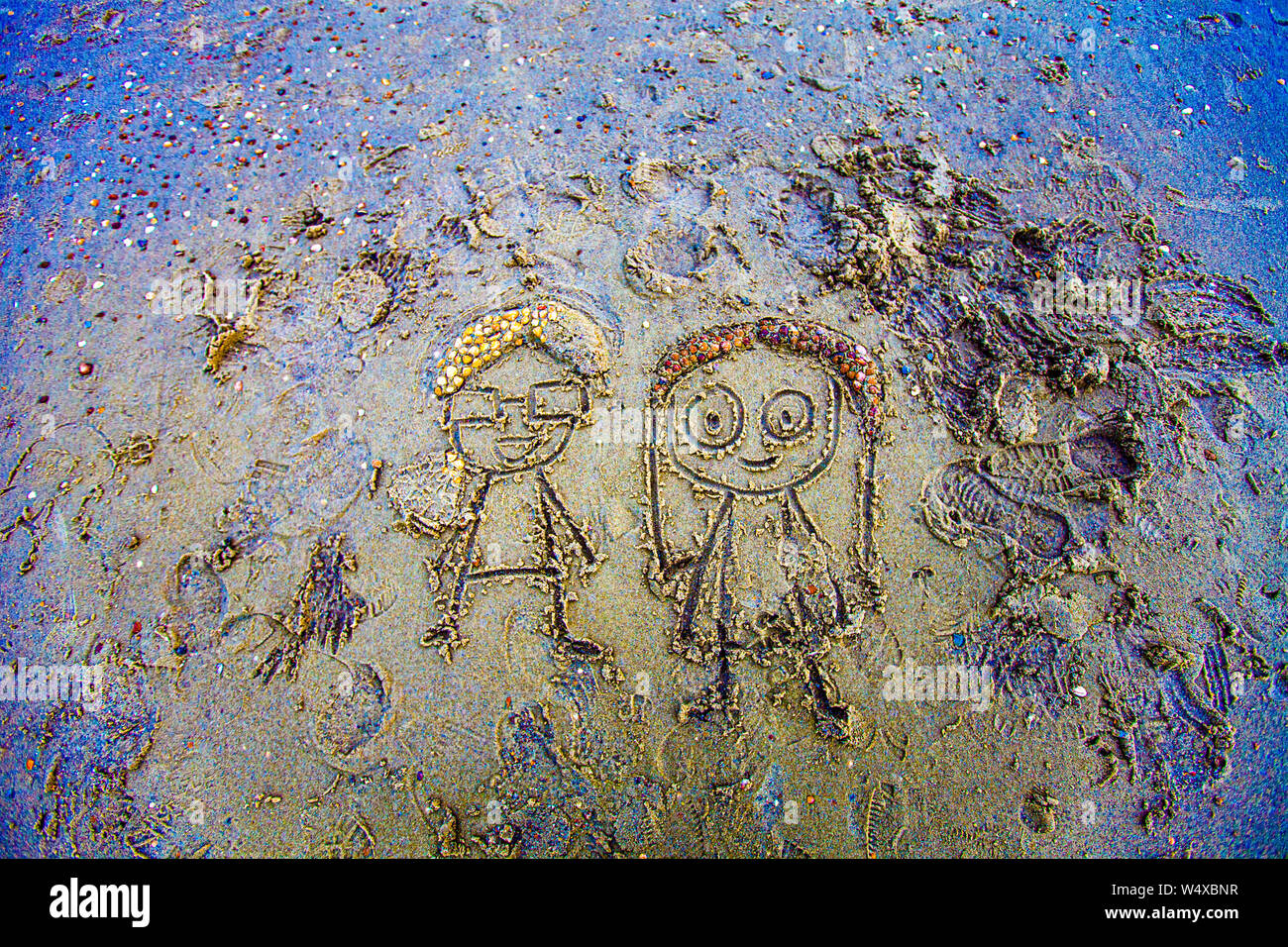 Sand-Couple, Art on the Sand of the Beach in Oostkapelle, Netherlands Stock Photo