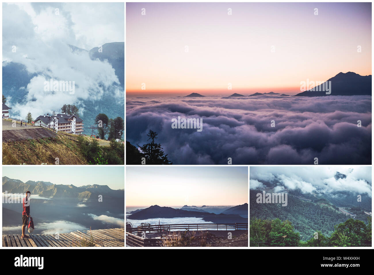Collage Of Five Photos Of Mountain Aerial Landscapes Scenery Stock Photo Alamy