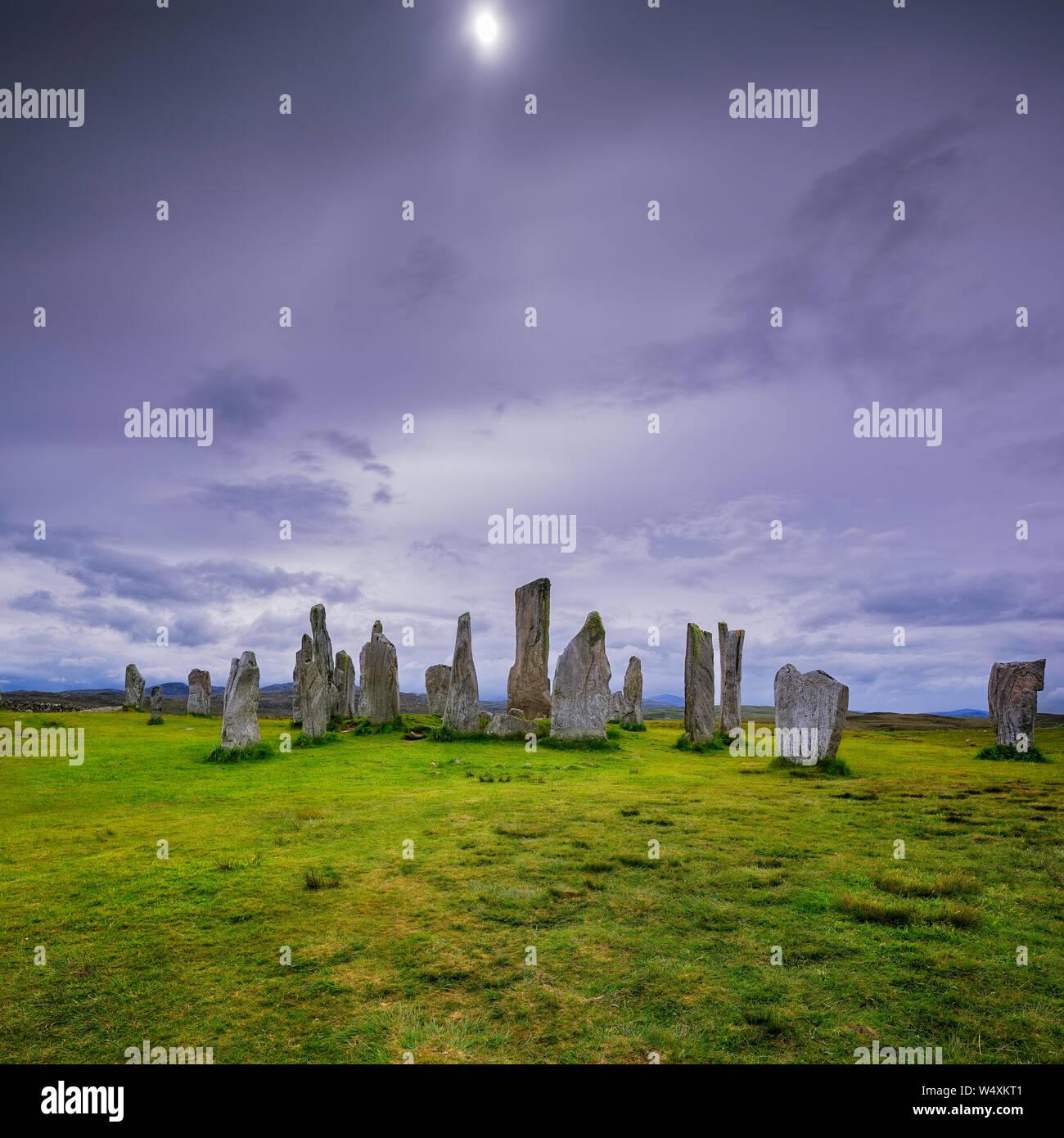 The main Callanish stones under dark skies Stock Photo
