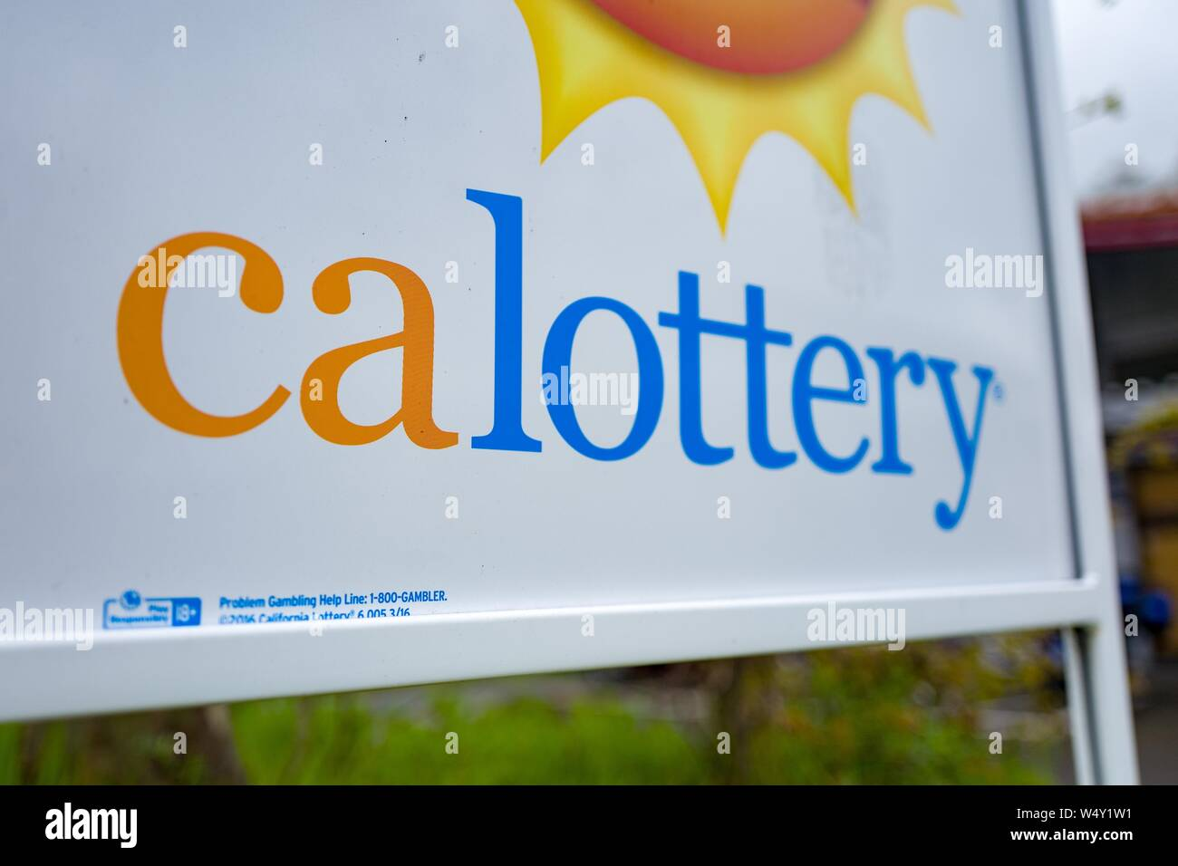 Close-up of sign for CALottery or the California Lottery in