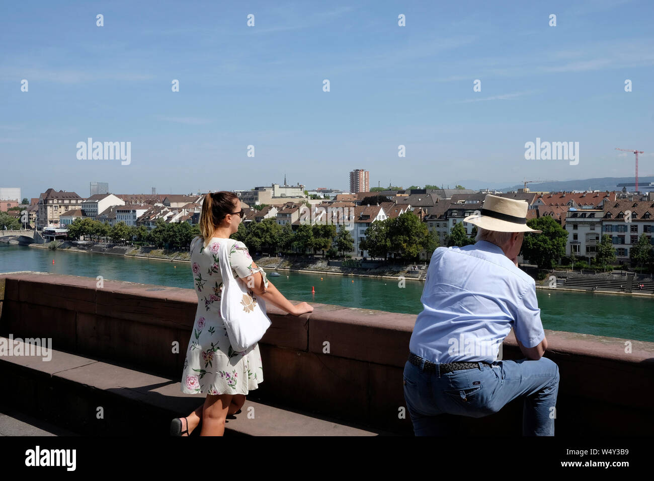 People enjoying the view of Basel from the Pfalz, a viewing terrace, Switzerland Stock Photo