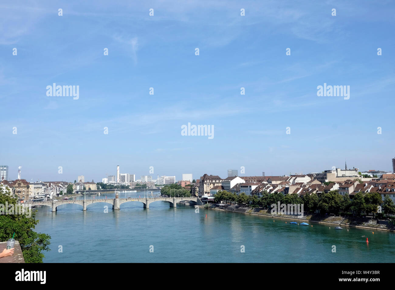A view of Basel skyline from the Pfalz viewing terrace, Switzerland Stock Photo