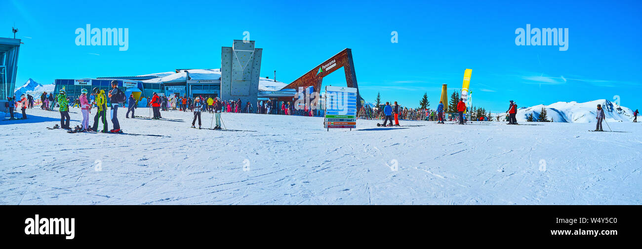 ZELL AM SEE, AUSTRIA - FEBRUARY 28, 2019: Panorama of Areitbahn air lift station, located on Schmitten mount and connecting it with Areitalm Alpine me Stock Photo