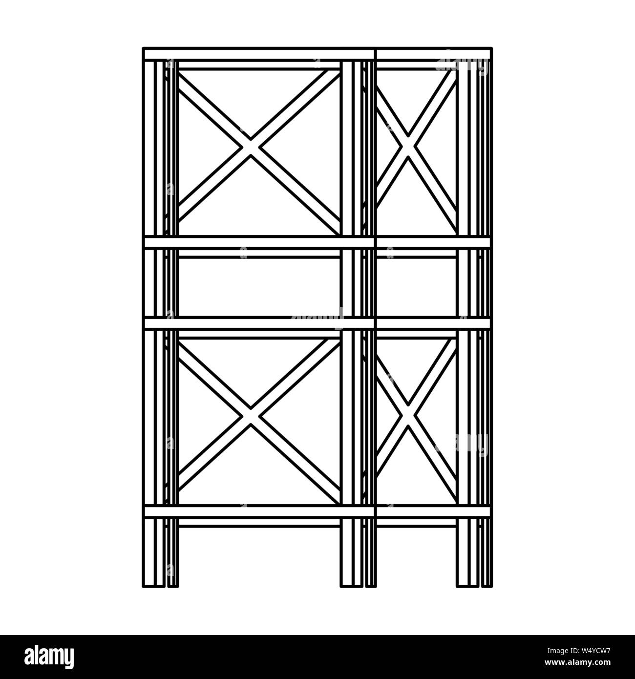 construction architecture engineering industrial cartoon in black and white Stock Vector