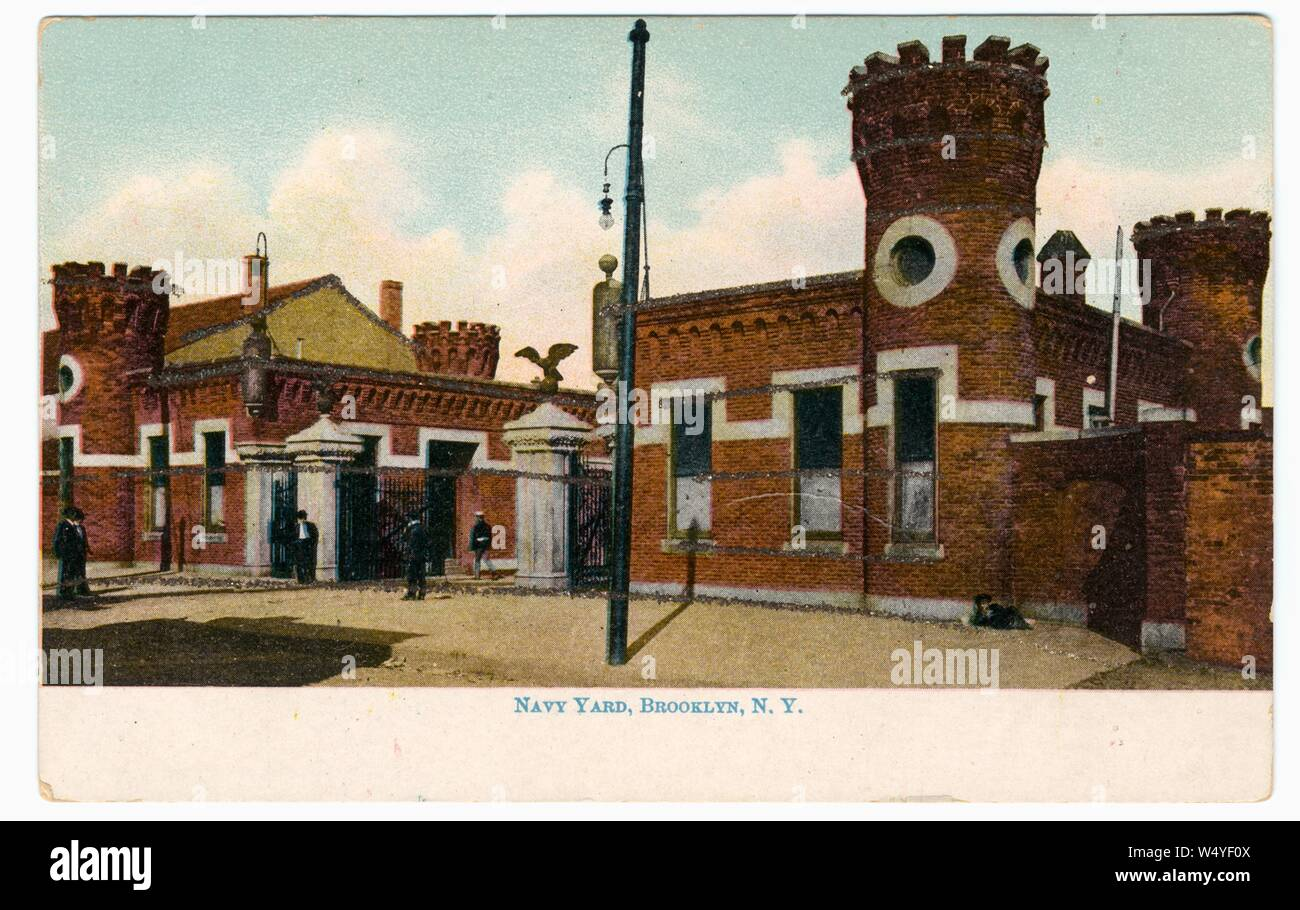 Engraved postcard of the Navy Yard at northwest Brooklyn in New York City, New York, 1905. From the New York Public Library. () Stock Photo