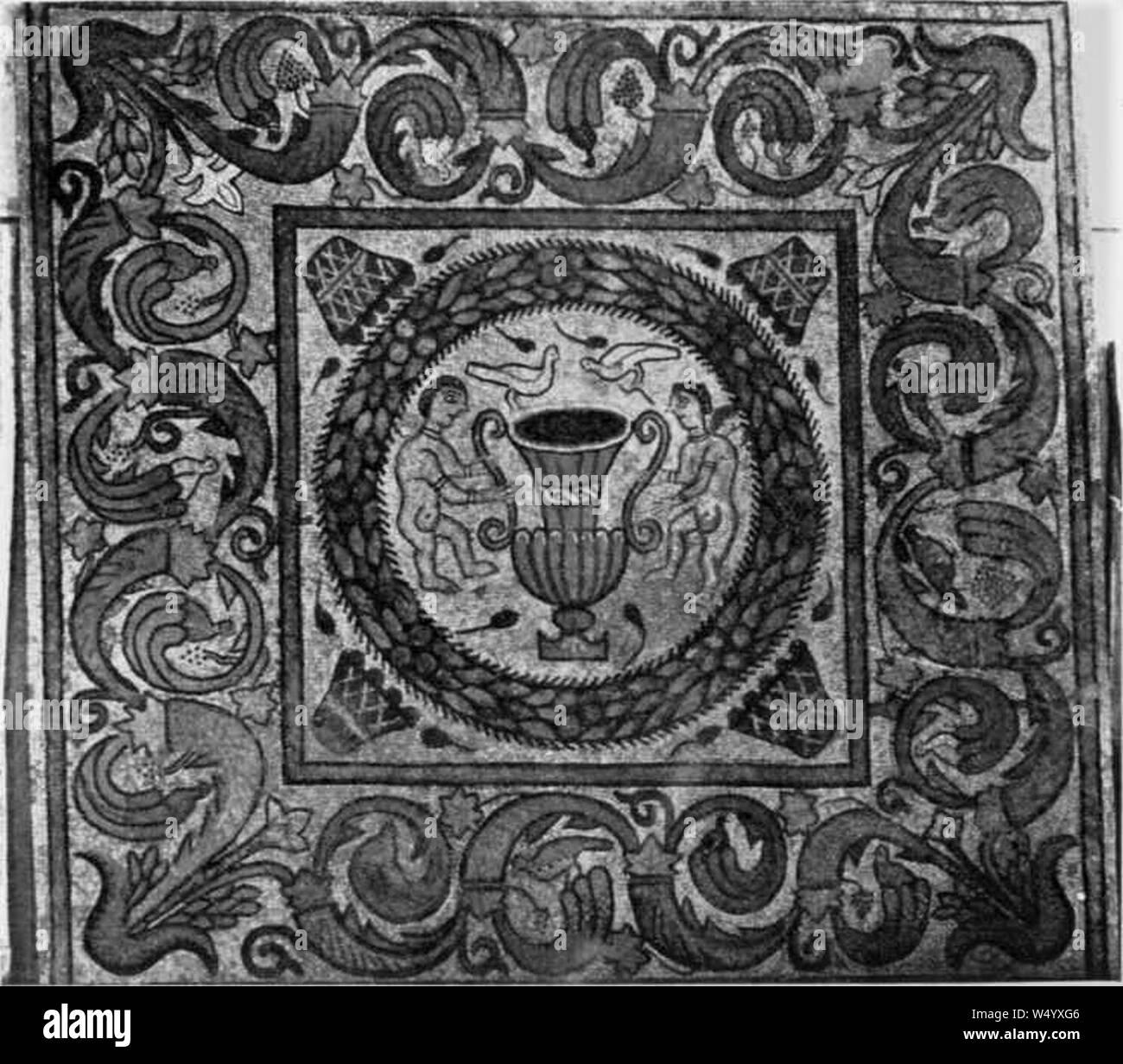 Cuadro central del mosaico de la habitación 5. Stock Photo
