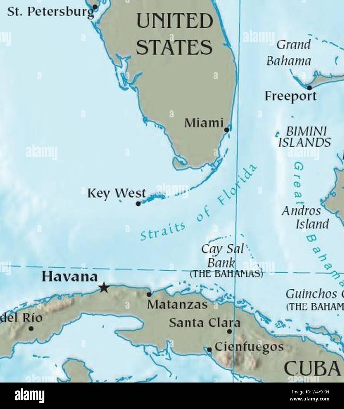Map Of Florida And Cuba Cuba Florida map Stock Photo   Alamy