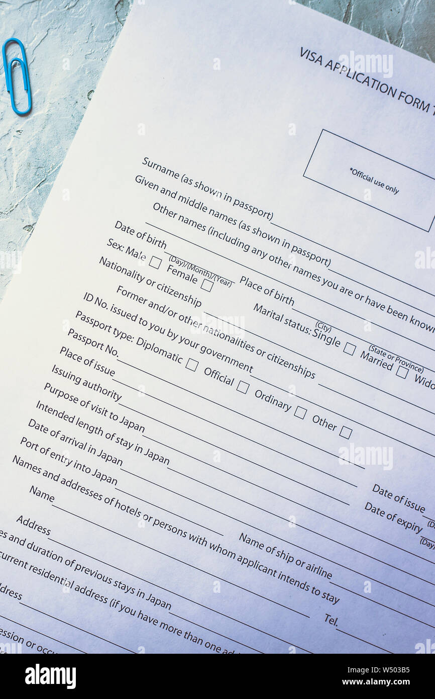 Filling The Visa Application Form To Enter Japan Stock Photo Alamy