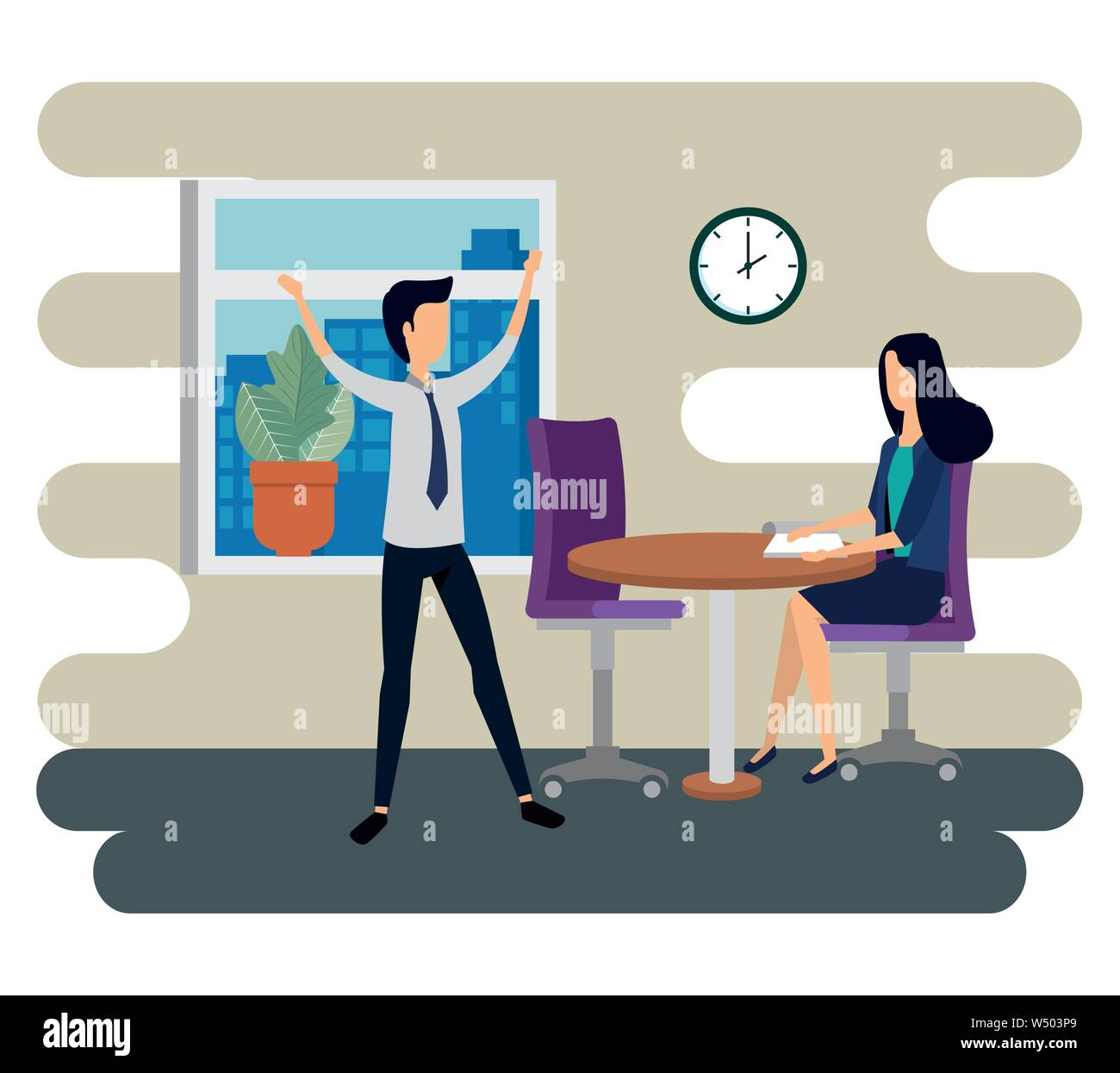 businesswoman and businessman teamwork with documents in the table and clock Stock Vector
