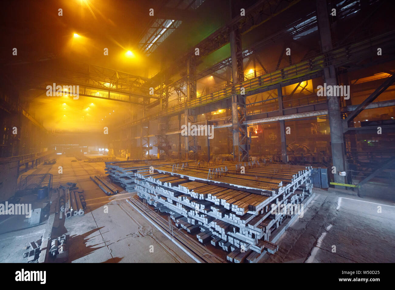 Warehouse metal blank. Electroplating plant for the metal Stock Photo