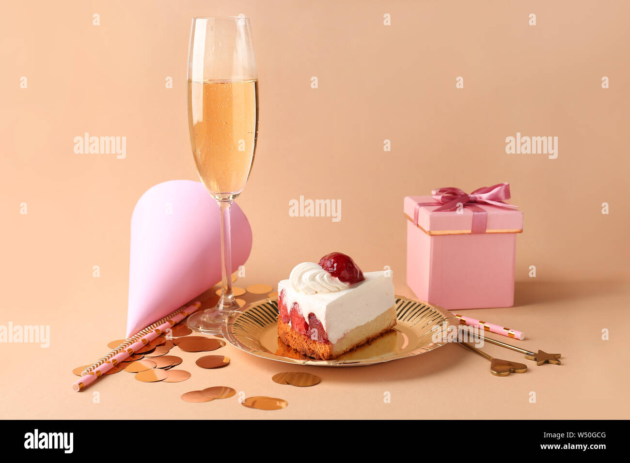 Excellent Plate With Birthday Cake T Box And Glass Of Champagne On Color Funny Birthday Cards Online Hetedamsfinfo