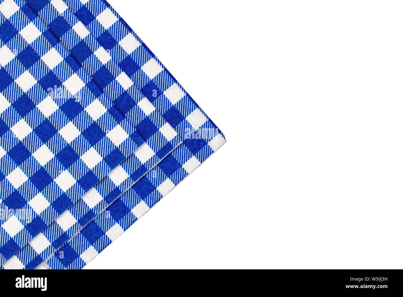 Closeup of a set of blue and white checkered kitchen cloth ...