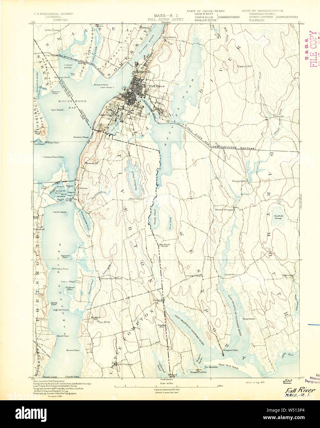 Massachusetts USGS Historical Topo Map MA Fall River 9 9