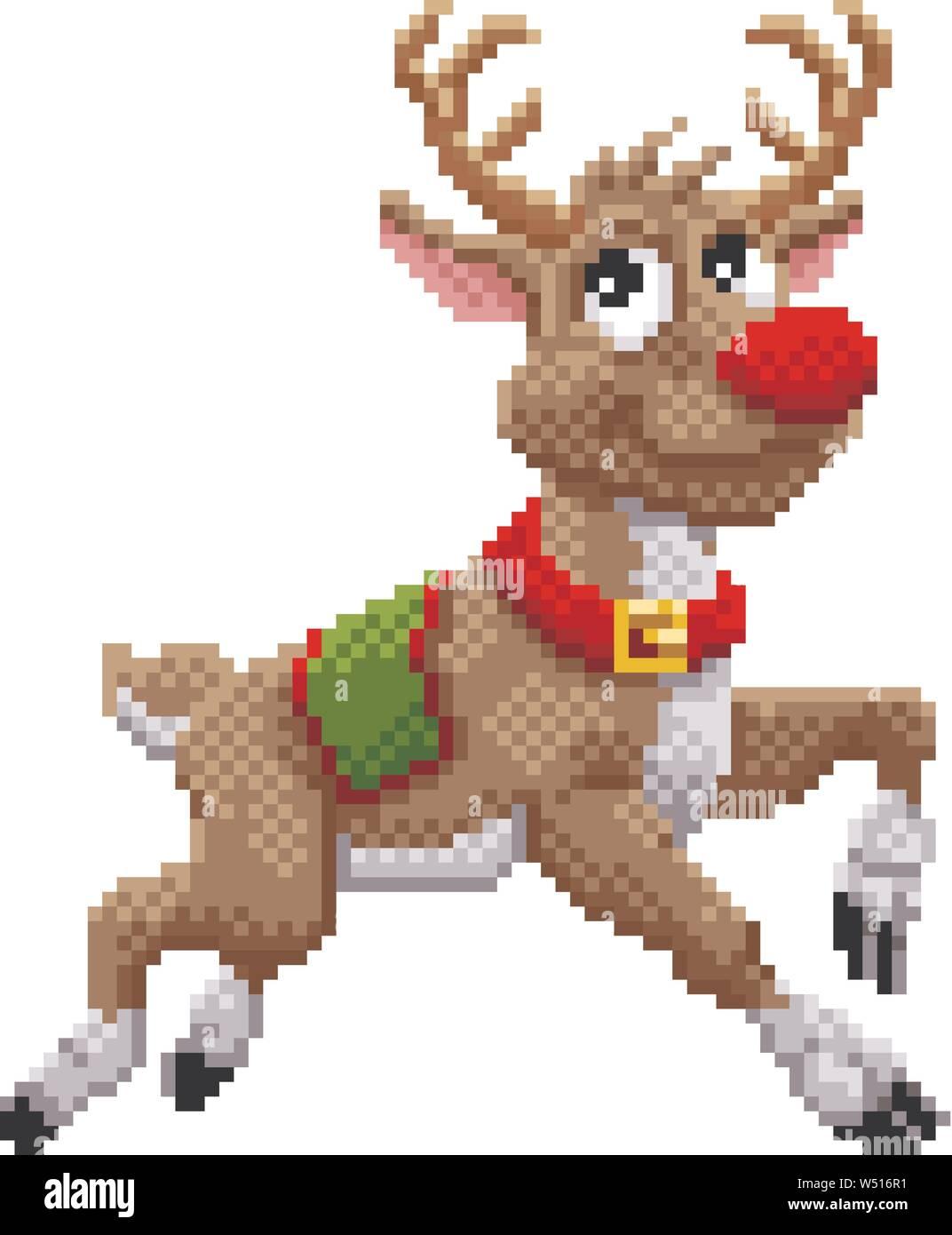 Santa Claus Reindeer 8 Bit Video Game Pixel Art Stock Vector