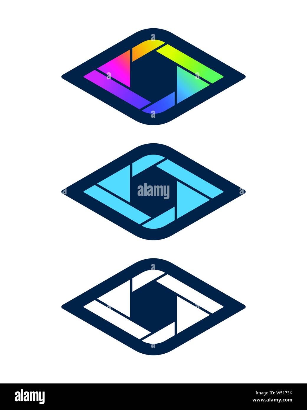 Diamond Shaped Shutter Symbols Vision And Media Icon Design