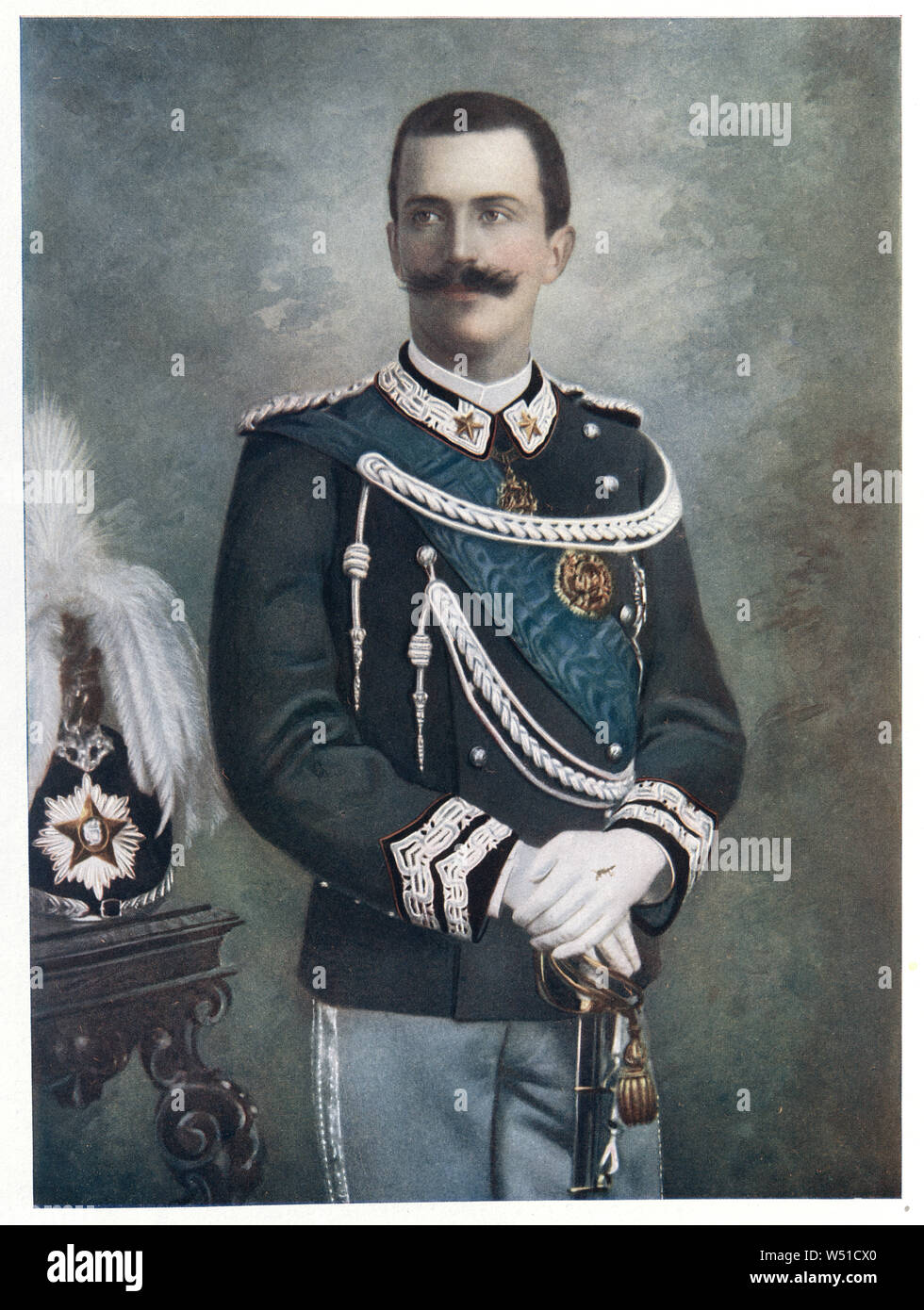 Victor Emmanuel III  was the King of Italy from 29 July 1900 until his abdication on 9 May 1946. Stock Photo