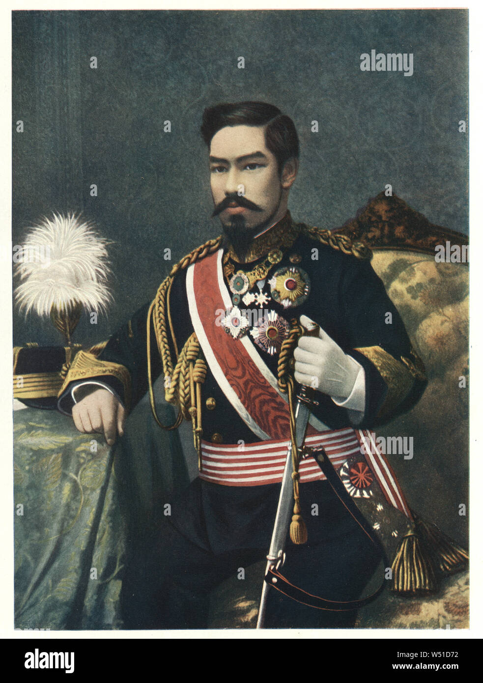 Emperor Meiji, or Meiji the Great, was the 122nd Emperor of Japan reigning from 1867 until 1912. He presided over the Meiji period, a time of rapid change that witnessed the Empire of Japan rapidly transform from an isolationist feudal state to an industrialized world power. Stock Photo
