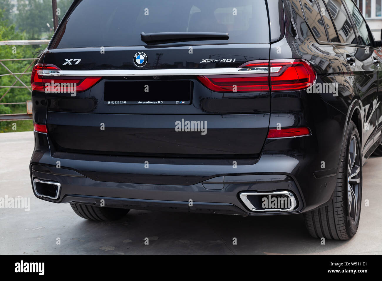 Novosibirsk Russia 07 20 2019 Black New Bmw X7 Xdrive40i 2019 Year Rear View With Lifht Gray Interior On Parking In The Street Stock Photo Alamy