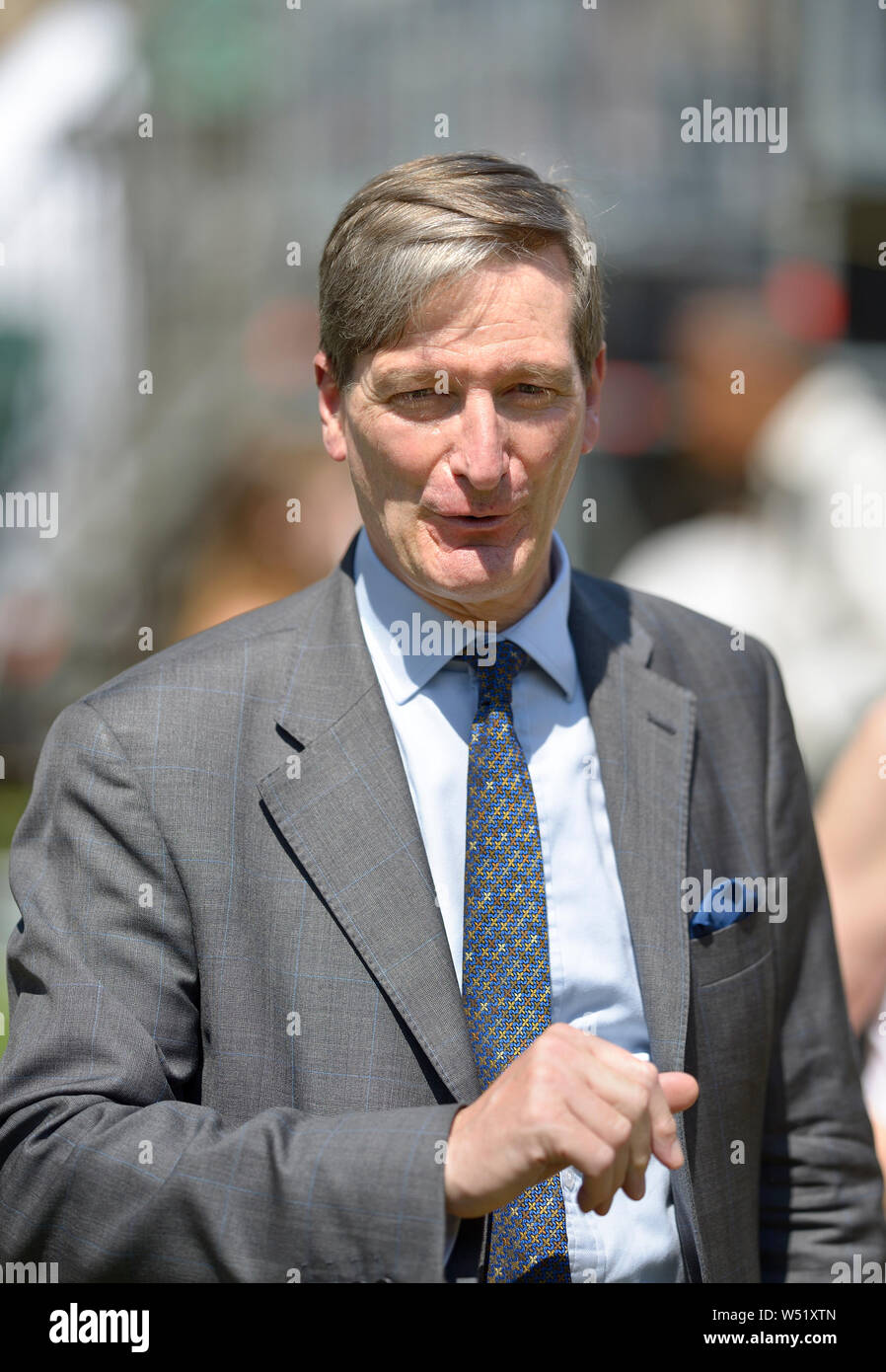 Dominic Grieve MP (Conservative: Beaconsfield) former Attorney General, being interviewed on College Green, Westminster, July 23rd 2019 Stock Photo