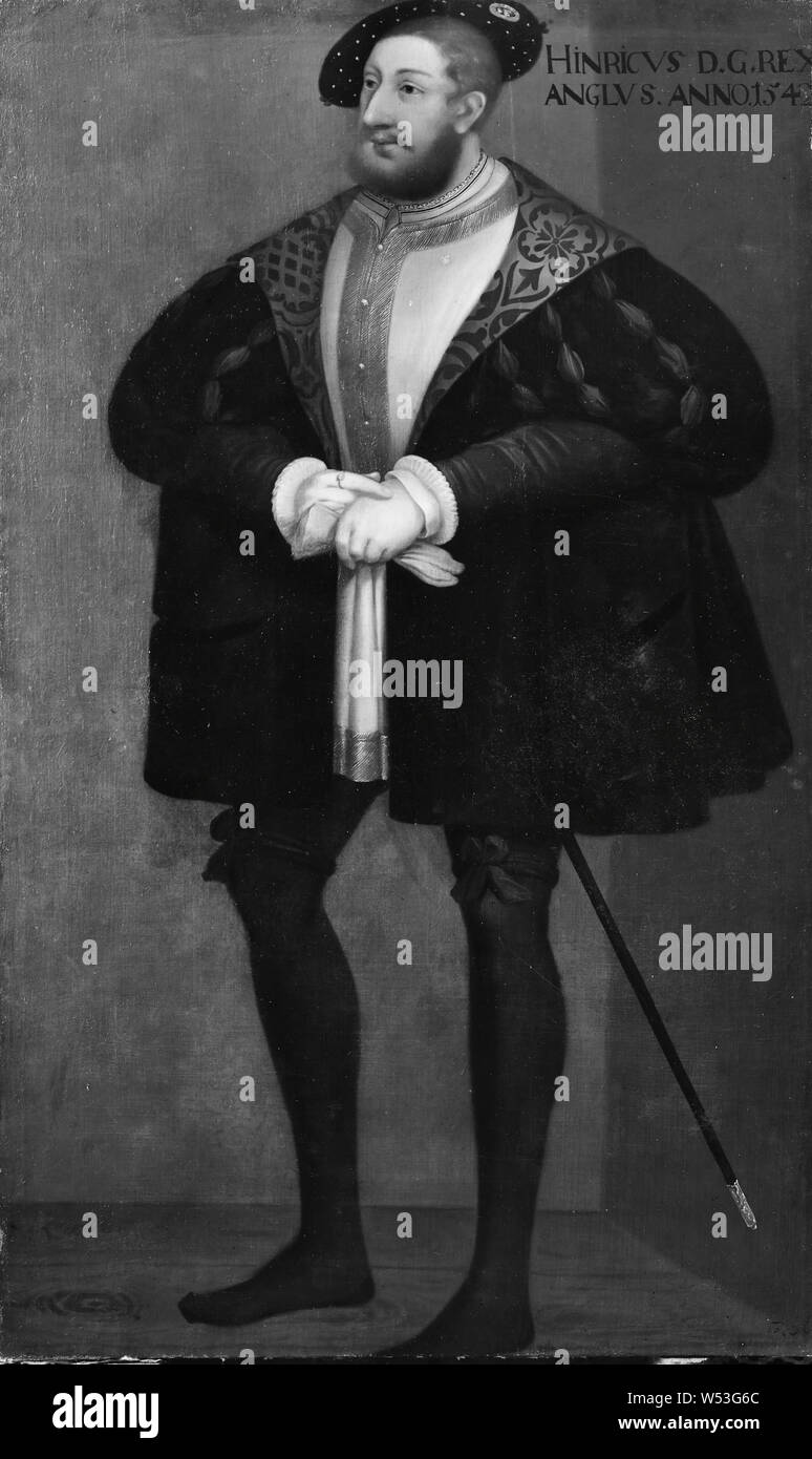 Attributed to David Frumerie, King Henry VIII, Henry VIII, 1491-1547, King of England, painting, portrait, Henry VIII of England, 1667, Oil on canvas, Height, 194 cm (76.3 inches), Width, 115 cm (45.2 inches) Stock Photo