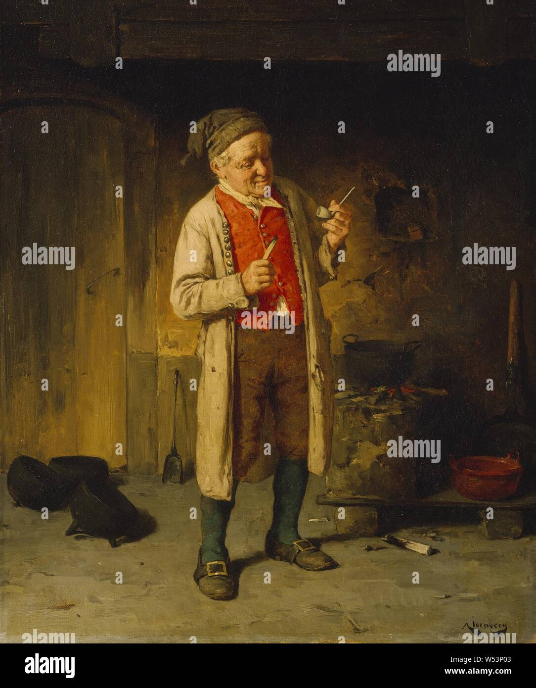 August Jernberg, The New Pipe, The new barrel, painting, Oil