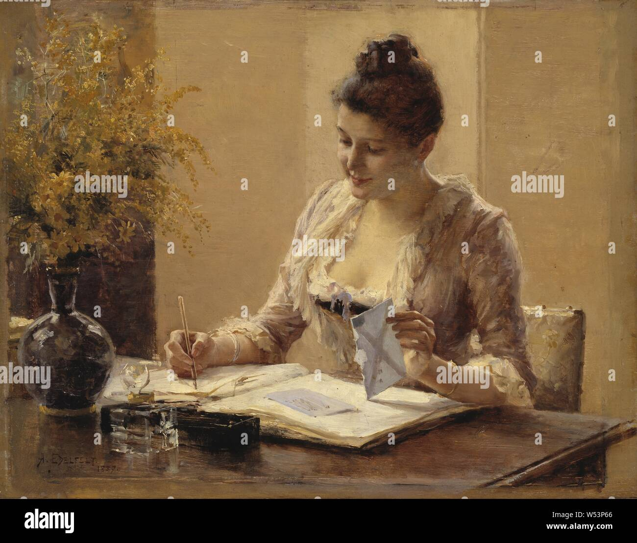Albert Edelfelt, Lady Writing a Letter, Lady writing letter, painting, 1887, oil on panel, Height, 29 cm (11.4 inches), Width, 37 cm (14.5 inches), Signed, A, Edelfelt, Stock Photo