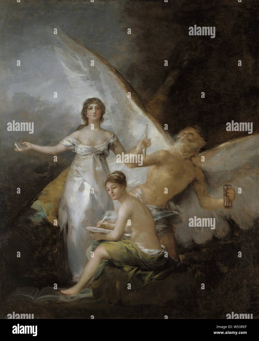 Francisco Goya, Truth, Time and History, painting, allegory, Oil on canvas, Height, 294 cm (115.7 inches), Width, 244 cm (96 inches) Stock Photo