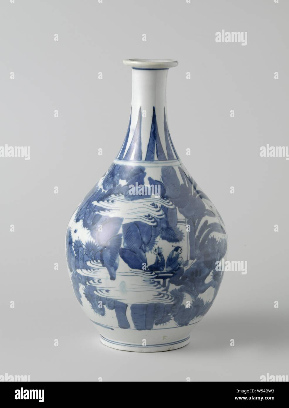 Ovoid bottle with figures in a water landscape, Egg-shaped bottle