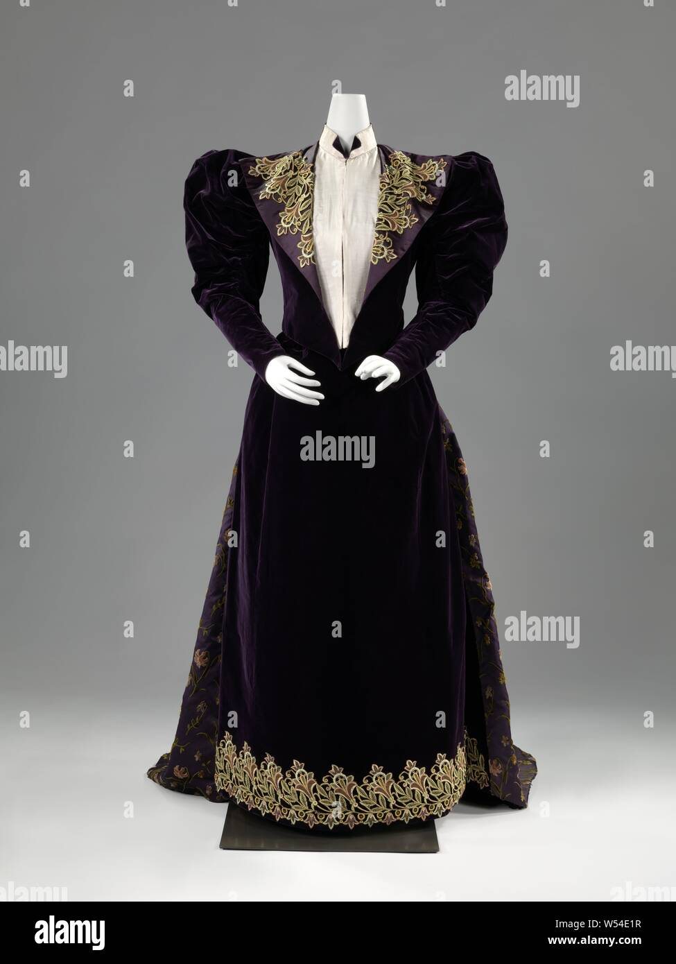 Dress With Appliques Dress With Appliques Purple Velvet Dress With Multicolored Floral Appliques Consisting Of A Body A And A Skirt B The Body Has Long Sleeves Whose Wide Head Is Formed