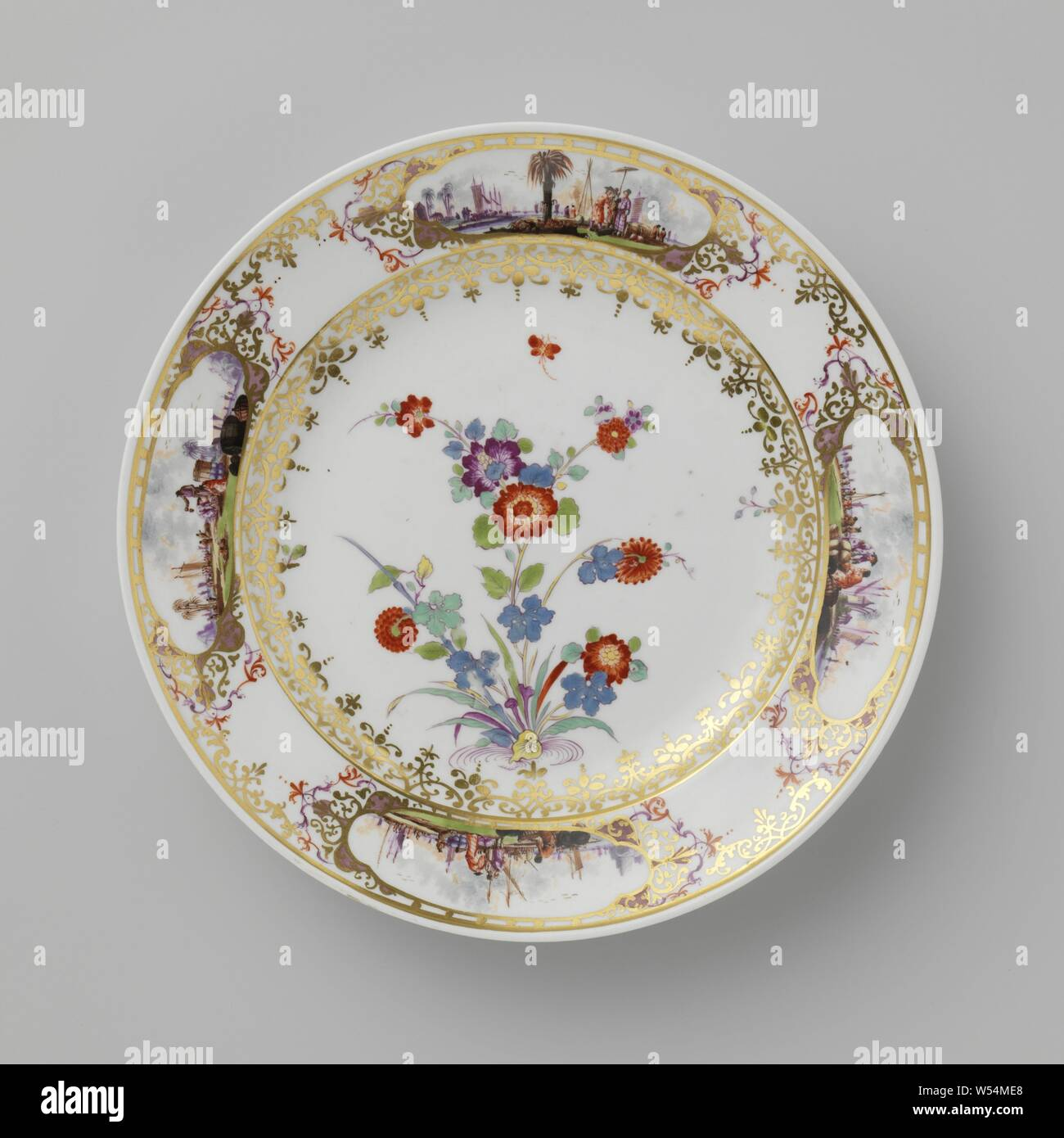 Tureen and stand Saucer Saucer, multicolored painted with Indian