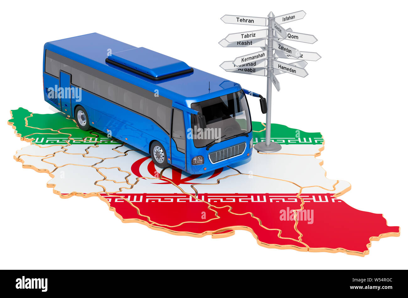 Iran Bus Tours concept. 3D rendering isolated on white background Stock Photo
