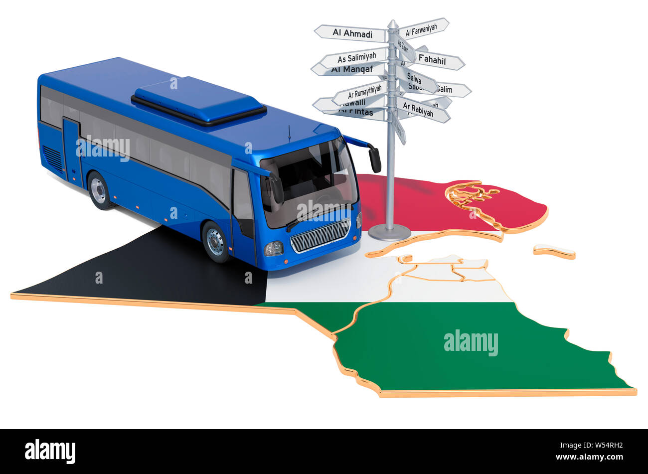Kuwait Bus Tours concept. 3D rendering isolated on white background Stock Photo