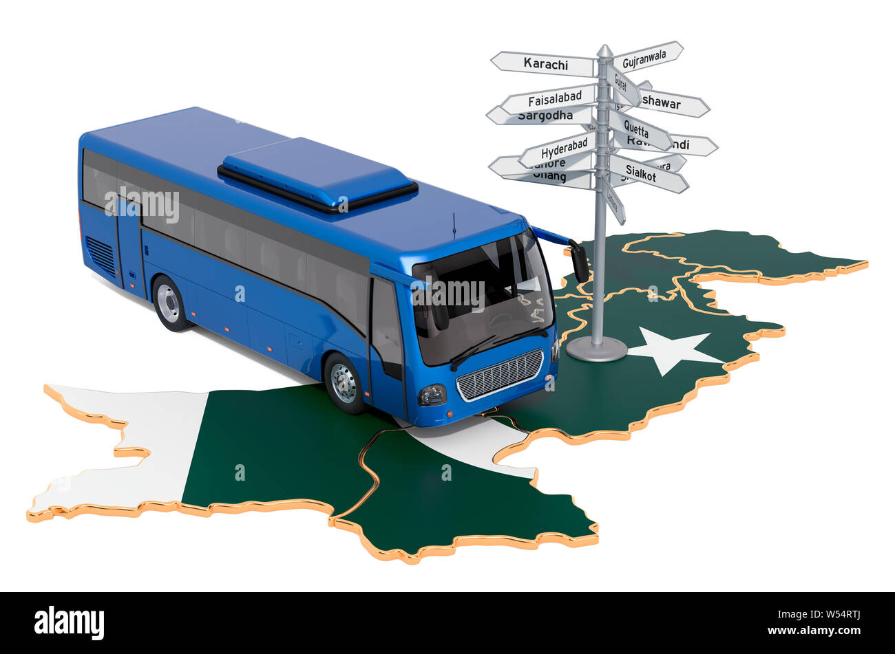 Pakistan Bus Tours concept. 3D rendering isolated on white background Stock Photo