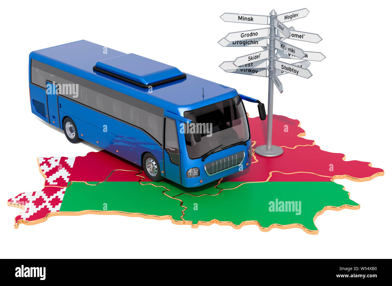 Belarus Bus Tours concept. 3D rendering isolated on white background Stock Photo