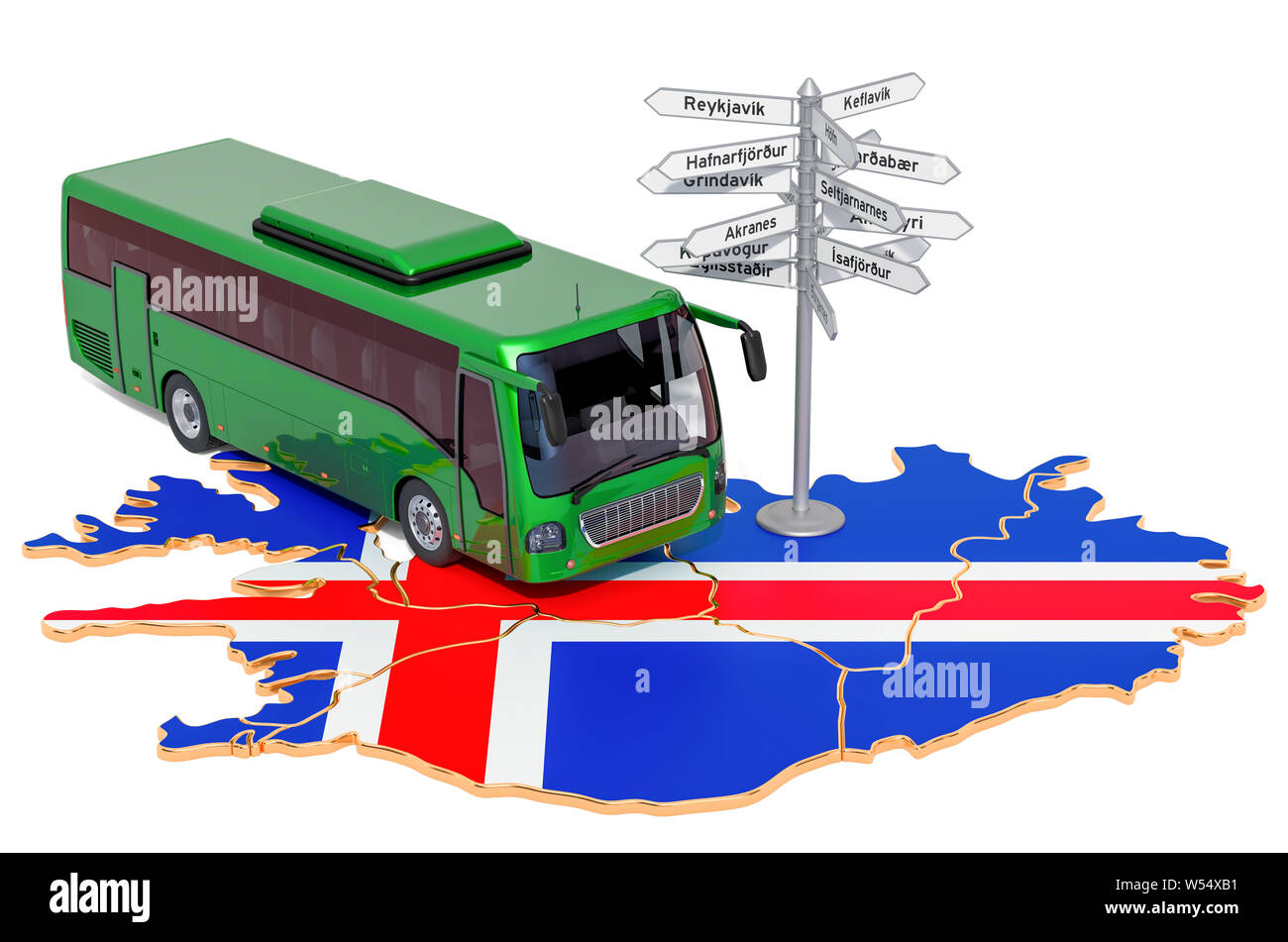 Iceland Bus Tours concept. 3D rendering isolated on white background Stock Photo