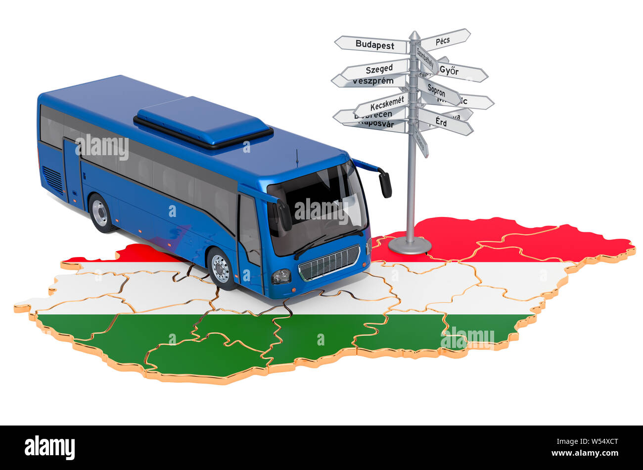 Hungary Bus Tours concept. 3D rendering isolated on white background Stock Photo